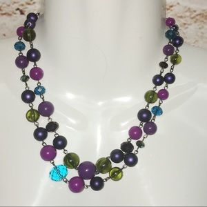 Jewelry - Vintage Multicolor Beads Double Statement Necklace